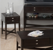 Jofran 934-7 GRANBY ESPRESSO FINISH CHAIRSIDE with X STRETCHER BASE AND ONE DRAWER