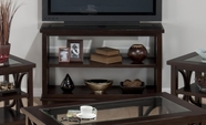 Jofran 966-4 PANAMA BROWN FINISH SOFA/MEDIA UNIT with 2 SHELVES AND 2 TEMPERED BEVELED EDGE GLASS INSERTS