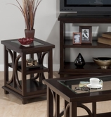Jofran 966-7 PANAMA BROWN FINISH CHAIRSIDE with 2 SHELVES AND TEMPERED BEVELED EDGE GLASS INSERT
