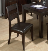 Jofran 972-762Kd Dark Rustic Prairie Finish 1 Rung Ladderback Chair With Hand Hewn Edges And Chestnut Faux Leather Seat (Rta 2/Ctn)