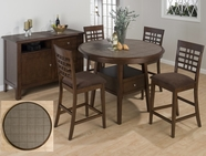 Jofran 976-48B-T-4XBS515KD CALEB BROWN FINISH COUNTER HEIGHT CANTED LEG TABLE SET
