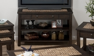 Jofran 991-4 BARKLEY DARK ELM FINISH SOFA/MEDIA UNIT with TILE TOP, DRAWER AND 2 SHELVES
