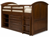 Legacy Classic 490-8333-30-20 American Spirit Twin Size Mid Loft Bed With Dresser Storage And Ladder