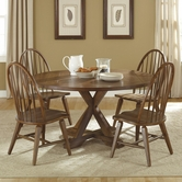 Liberty 382-P6060-T6060-4xC1000S Hearthstone Drop Leaf Pedestal Table set