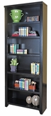 "Martin Furniture TL3284 Tribeca Loft Black 84"" Bookcase with 4 adj. shelves & 1 fixed shelf"
