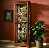 Pulaski 20719 Two Way Sldg Door Curio Golden Oak III