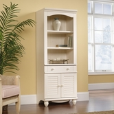 Sauder 158082 Harbor View Library With Doors In Antiqued White Finish