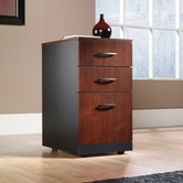 Sauder 401443 Via 3-Drawer Pedestal in Classic Cherry Finish With Soft Black Accents