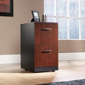 Sauder 401444 Via 2-Drawer Pedestal in Classic Cherry Finish With Soft Black Accents
