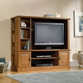 Sauder 401476 Orchard Hills Entertainment Center in Carolina Oak Finish