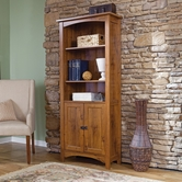 Sauder 407370 Rose Valley Library With Doors in Abbey Oak Finish