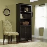 Sauder 409046 Edge Water Library With Doors In Estate Black Finish