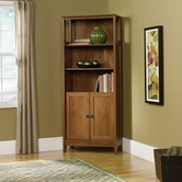 Sauder 409749 August Hill Library With Doors in Oiled Oak Finish