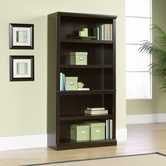Sauder 410375 5 Shelf Split Bookcase In Jamocha Wood Finish