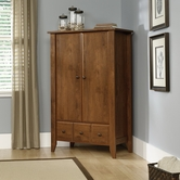 Sauder 410420 Shoal Creek Armoire in Oiled Oak Finish