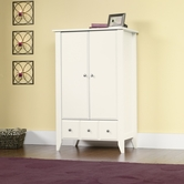 Sauder 411202 Shoal Creek Armoire in Soft White Finish