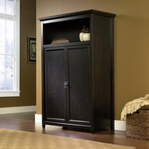 Sauder 412265 Edge Water Computer Armoire in Estate Black Finish