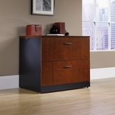 Sauder 412758 Via Lateral File in Classic Cherry Finish With Soft Black Accents