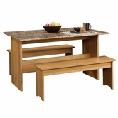Sauder 413421 Beginnings Trestle Table With Benches in Highland Oak Finish