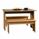 Sauder 414672 Beginnings Table With Benches in Highland Oak Finish