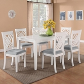 STANDARD 18282 BROOKLYN WHITE TABLE,LEG & SIX CHAIRS SET