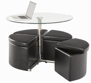 STANDARD 21917 COSMO TABLE,ROUND GLASS W/4 BLK OTTO