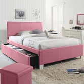 STANDARD 60778-79 FANTASIA Full Upholstered Youth Trundle Bed PINK