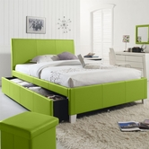 STANDARD 60788-89 FANTASIA Full Upholstered Youth Trundle Bed GREEN