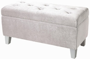 STANDARD 65184 YOUNG PARISIAN BENCH,STORAGE WHITE VELVET