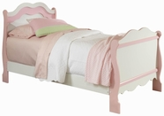 STANDARD 67513-10-23 BUBBLEGUM Twin White and Pink Sleigh Bed