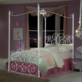 STANDARD 90033-34-36 PRINCESS CANOPY BEDS Full Metal Canopy Bed WHITE