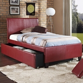 STANDARD 93993-94 NEW YORK Full Red Trundle Bed