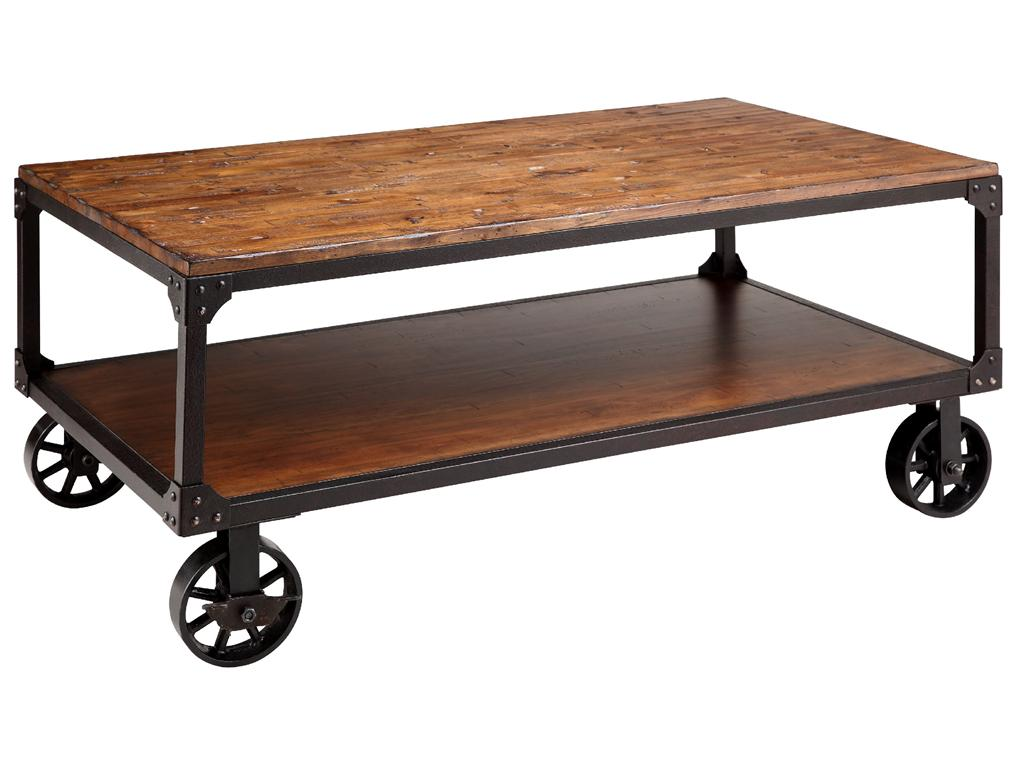 Superb img of Stein World 12354 Wood&Metal Wheeled Coffee Table withShelf Chicago  with #915F3A color and 1024x768 pixels