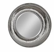 Stein World 12673 Silver hammered round mirror