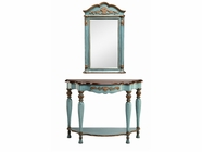 Stein World 12907 Blue Demilune Table and Mirror