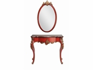 Stein World 12908 Red Demilune Table and Mirror