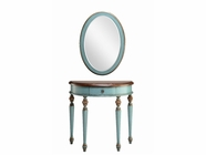 Stein World 12910 Blue Demilune Table and Mirror