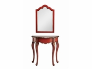 Stein World 12911 Red Demilune Table and Mirror