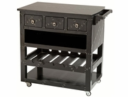 Stein World 12992 Black Aluminum Wine Cart