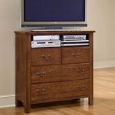 Vaughan Bassett 310-113 Simply Oak Dark Solid Oak Entertainment Center - 4 drawers