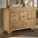 Vaughan Bassett 344-002 AMERICAN JOURNEY Triple Dresser - 7 Drawers (cedar lined bottom drawers)