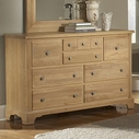 Vaughan Bassett 344-003 AMERICAN JOURNEY Triple Dresser - 8 Drawers (cedar lined bottom drawers)