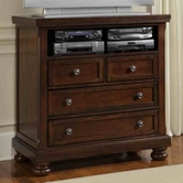 Vaughan Bassett 530-114 REFLECTIONS Ent. Center - 2 Drawers, Component Shelf