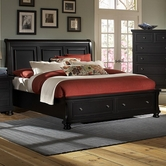 Vaughan Bassett 534-050B-502-553-555T Reflections Queen Storage Bed With Sleigh Headboard