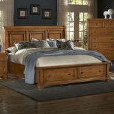 Vaughan Bassett 540-050B-502-553-555T Reflections Queen Storage Bed with Sleigh Headboard