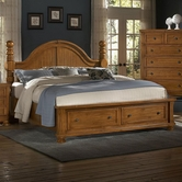 Vaughan Bassett 540-050B-502-559-555T Reflections Queen Storage Bed With Poster Headboard