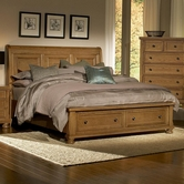Vaughan Bassett 550-050B-502-553-555T Reflections Queen Storage Bed With Sleigh Headboard