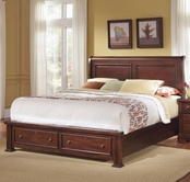 Vaughan Bassett BB51-050B-502-553-555t New Haven Queen Sleigh Bed with Storage Footboard