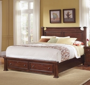 Vaughan Bassett BB51-066B-502-668-666T New Haven King Poster Bed with Storage Footboard