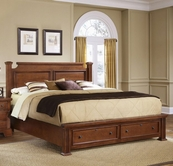 Vaughan Bassett BB52-050B-502-558-555T New Haven Queen Poster Bed with Storage Footboard